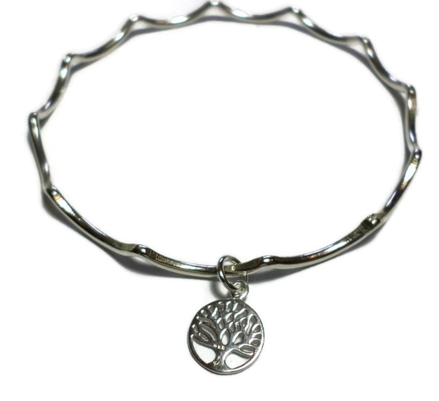 Silver Bangle with Tree of Life Charm