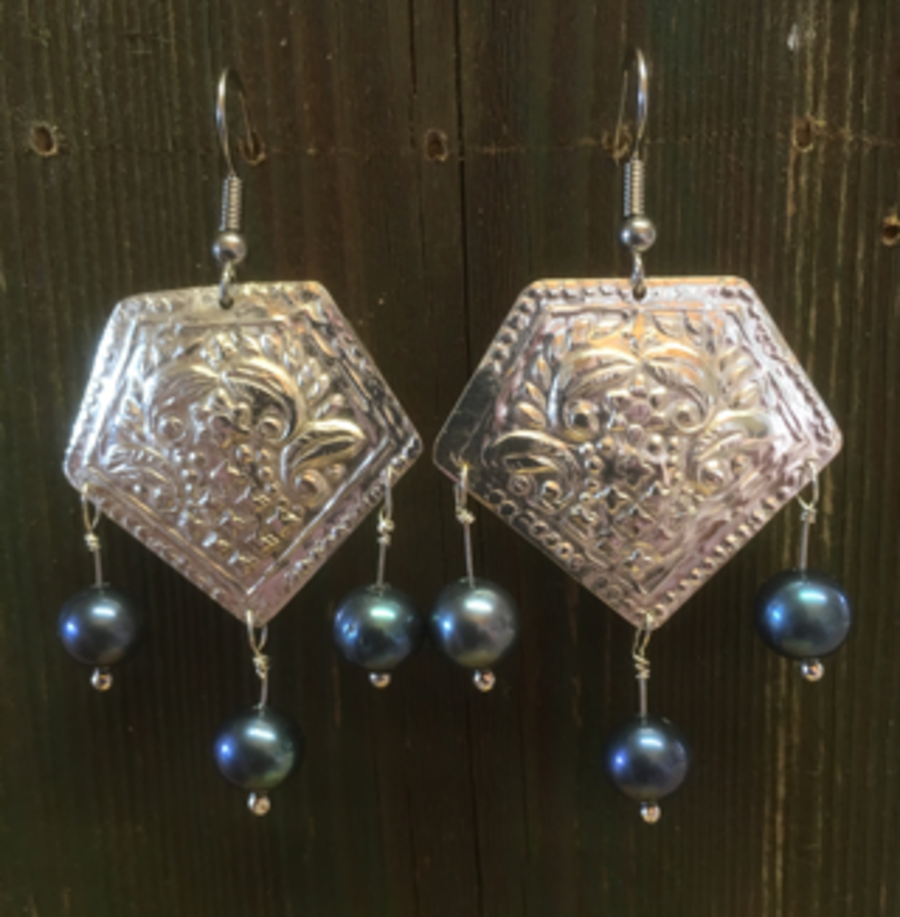 Embossed Sterling Silver Earrings (Slight seconds)