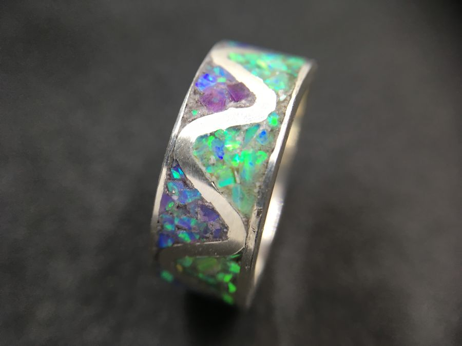 Multi colour lab Opal inlay sterling Silver ring size L