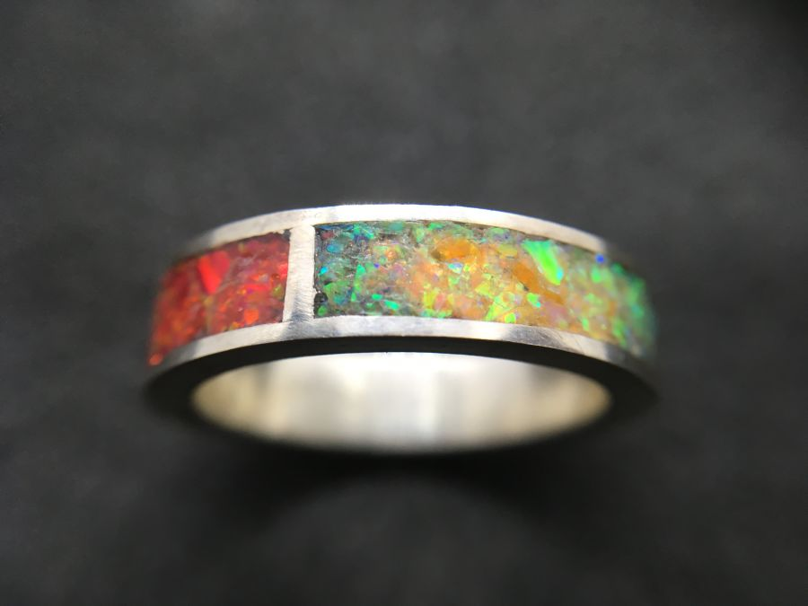 Lab Opal inlay sterling Silver ring UK size Q