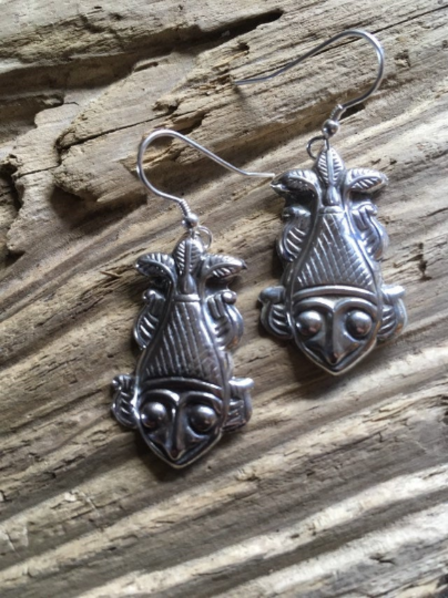 Pressed Silver Lucky Fish Earrings