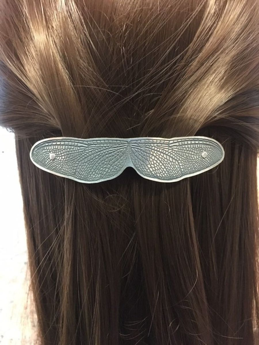 Dragonfly Wing sterling silver hair slide dfhs2
