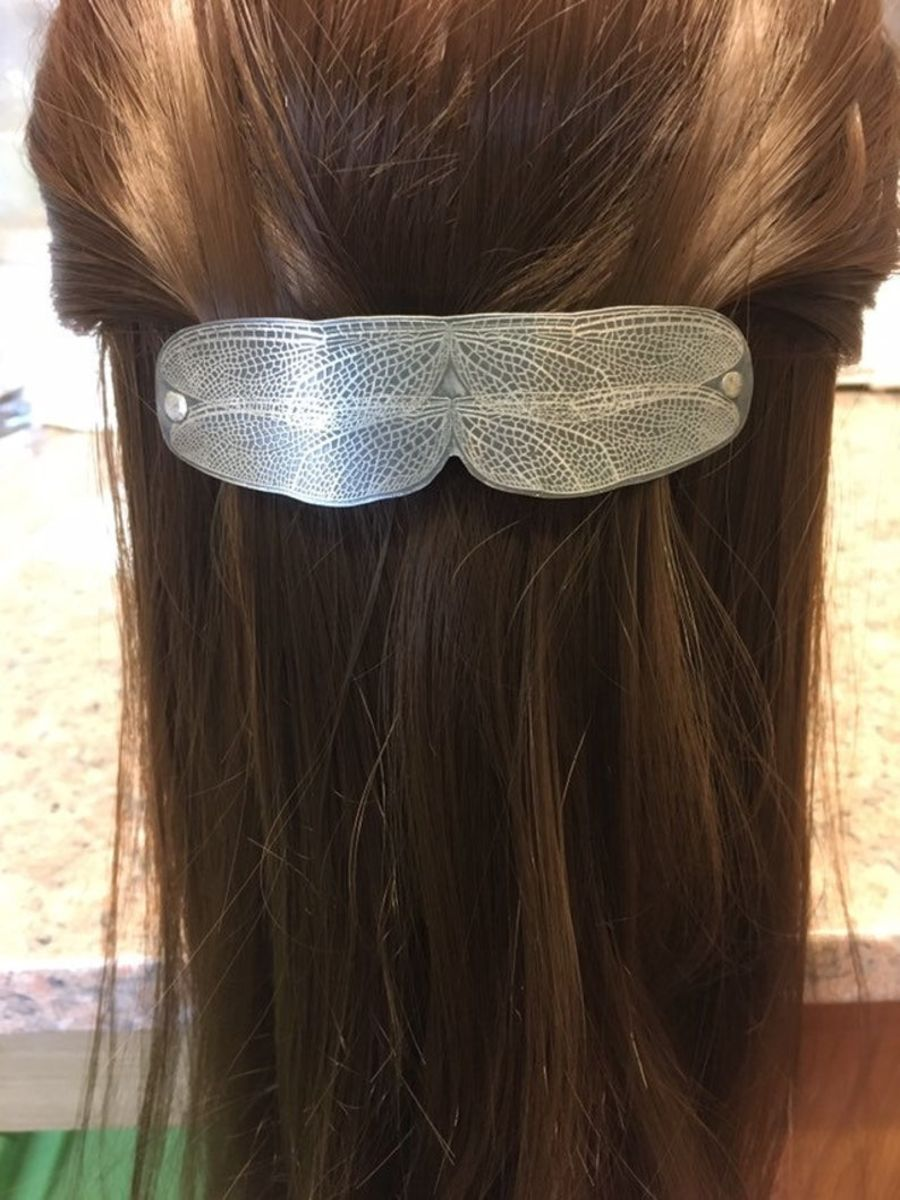 Dragonfly Wing sterling silver hair slide. dfhs3