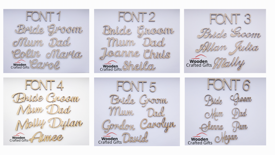 Place Names/Wedding Favours 3cm tall - 3 Fonts Available