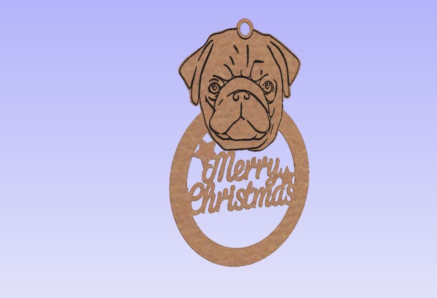 Merry Christmas Pug Bauble