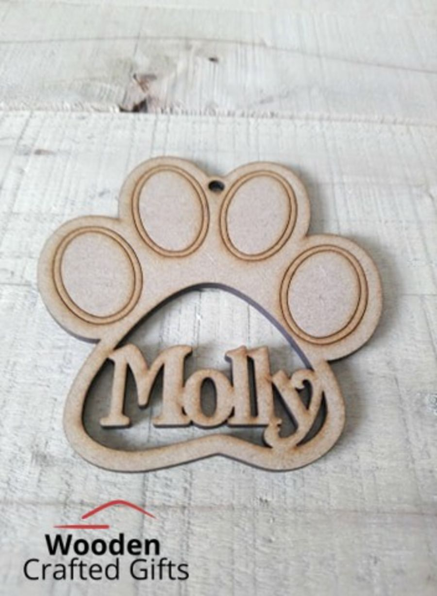 Personalised Etched Paw Bauble