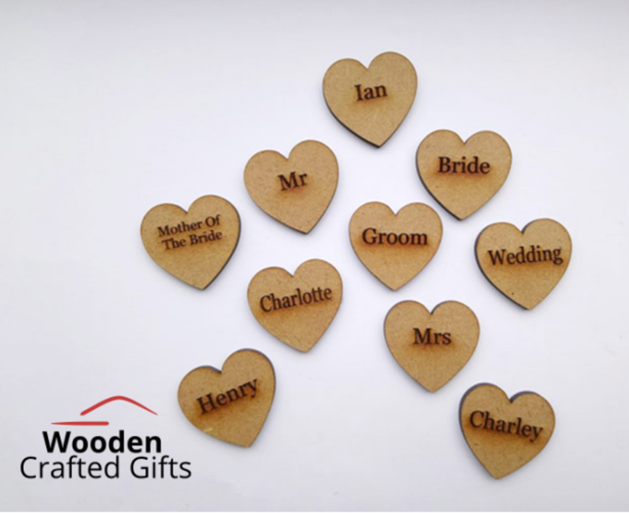 Engraved Hearts 3cm - 3mm (Family Tree Size) or 5cm - Please select the size you require for price