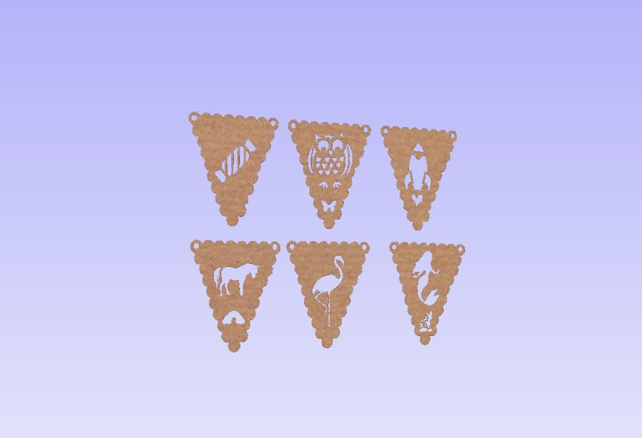 Triangular Bunting With Shapes/Letters