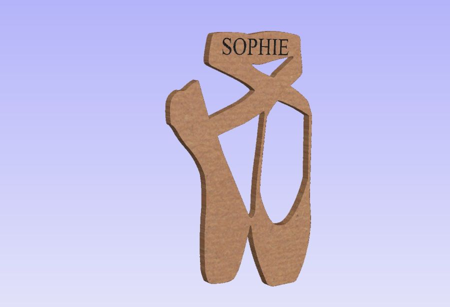 Freestanding Engraved Ballet Shoe