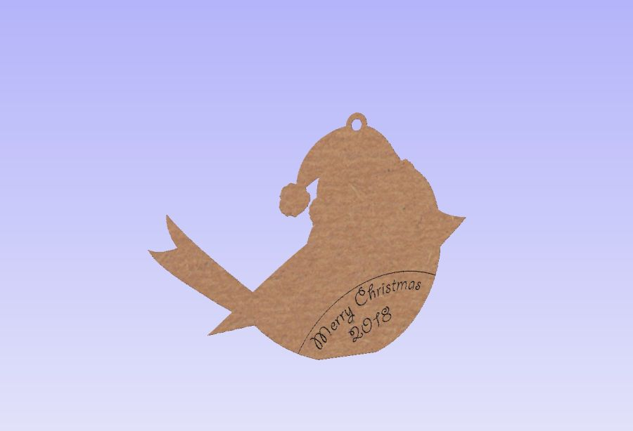 Merry Christmas 2019 Hanging Etched/Engraved Robin