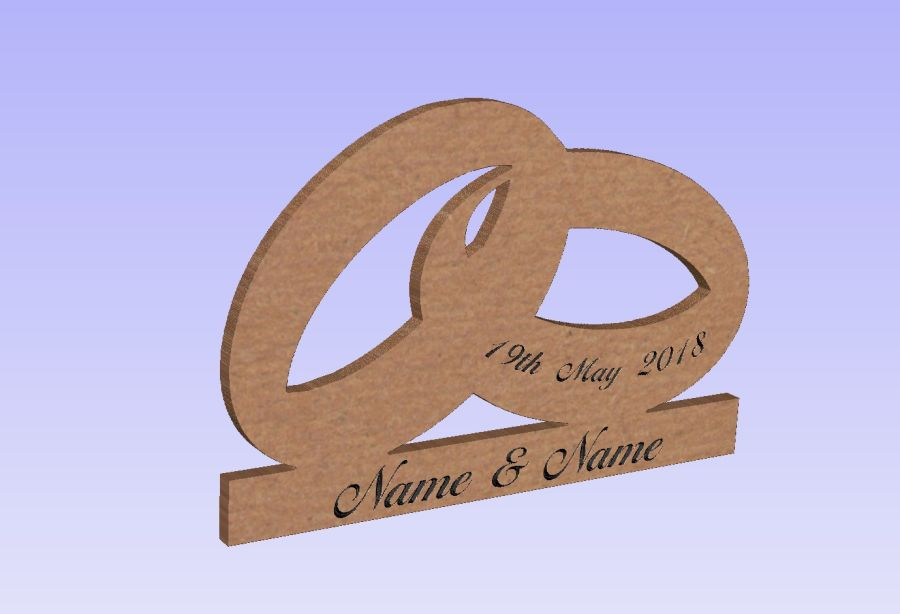 Freestanding Personalised Wedding Rings On Base