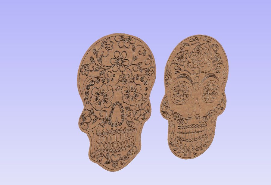 Etched Sugar Skulls (2 Pack)
