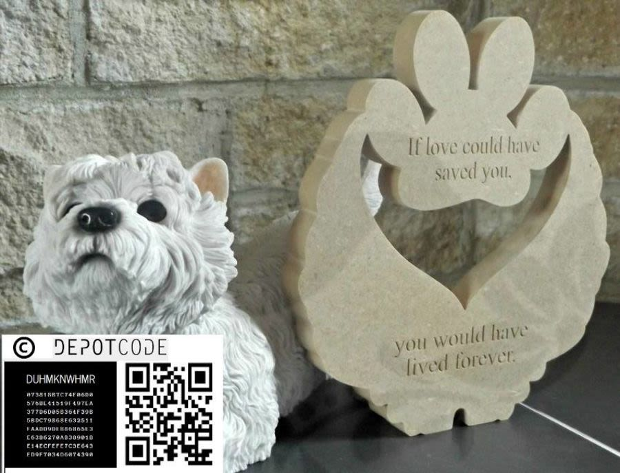 Freestanding Engraved Pet Memorial Wings/Paw