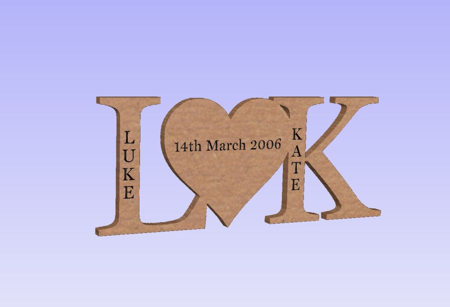 Freestanding Blank or Personalised Letter Heart Letter