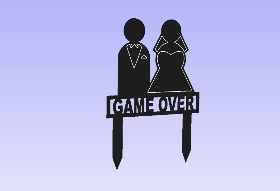 Game Over Acrylic Cake Topper