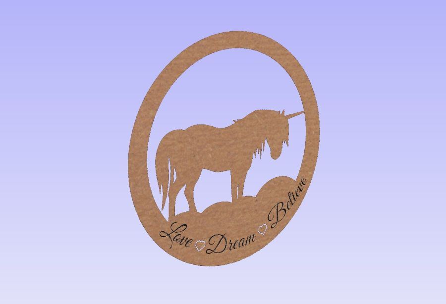 Love - Dream - Believe - Unicorn Hanging Circle