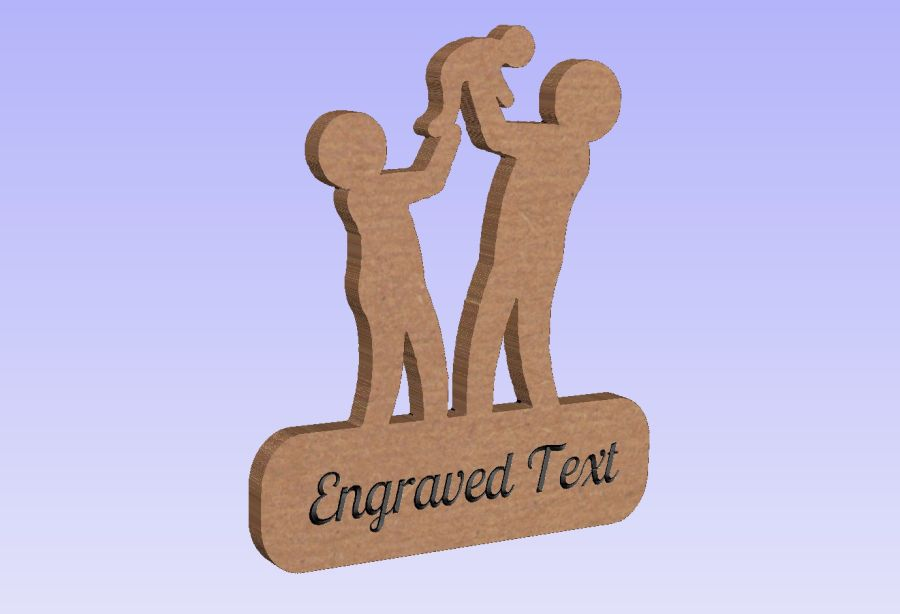 Freestanding Couple With Baby Plaque (With or Without Text)