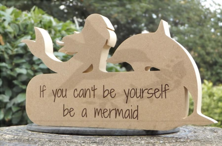 Freestanding Mermaid & Dolphin Plaque (With or Without Text)