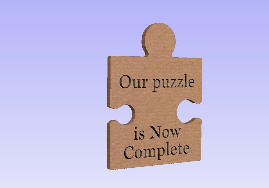 Freestanding Engraved Puzzle Piece - Our puzzle is now complete