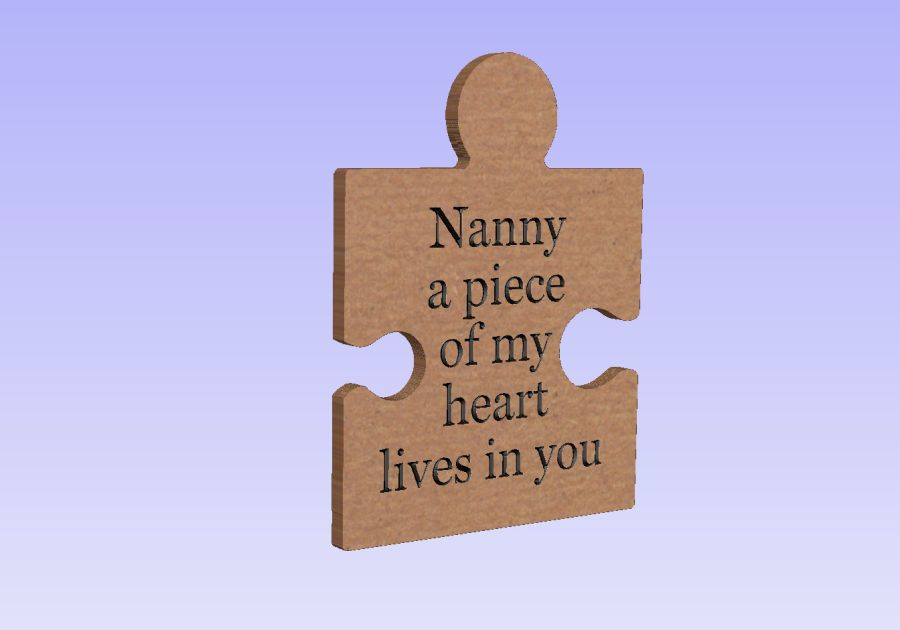 Freestanding Engraved Puzzle Piece - Nanny a piece of my heart lives with you