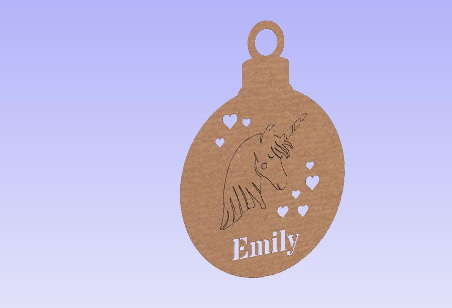 Personalised Unicorn With Hearts Bauble