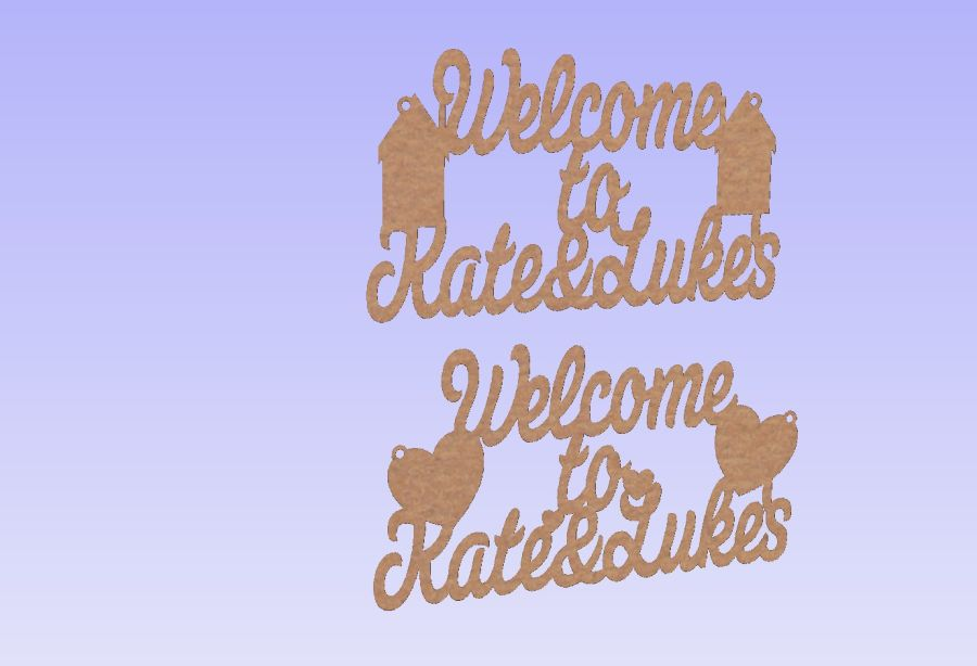 Welcome to Name & Name Plaque 4mm thick (Hearts or Houses)