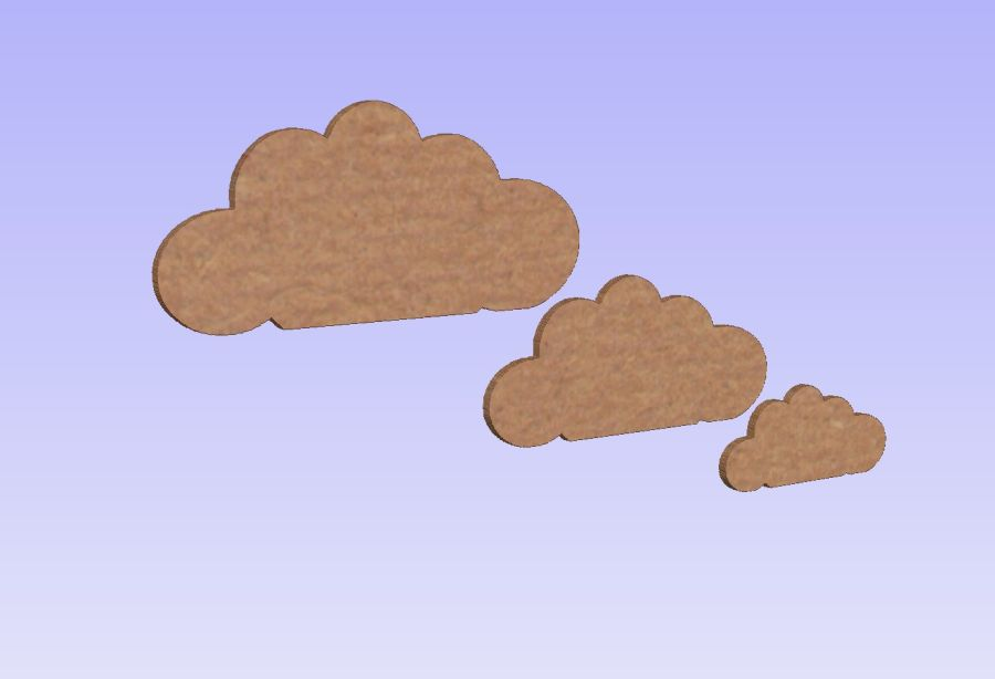 Freestanding Clouds - Set of 3 - 15cm, 12cm and 8cm -