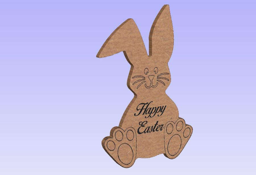 Freestanding Easter Bunny - Etched Detailing & Engraved - Happy Easter