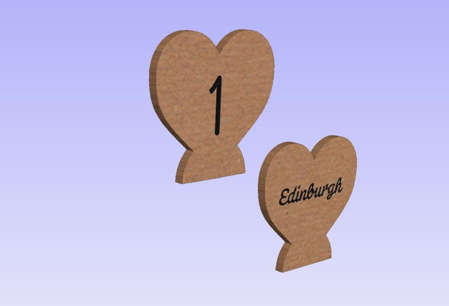 Freestanding Engraved Table Number/Name Hearts