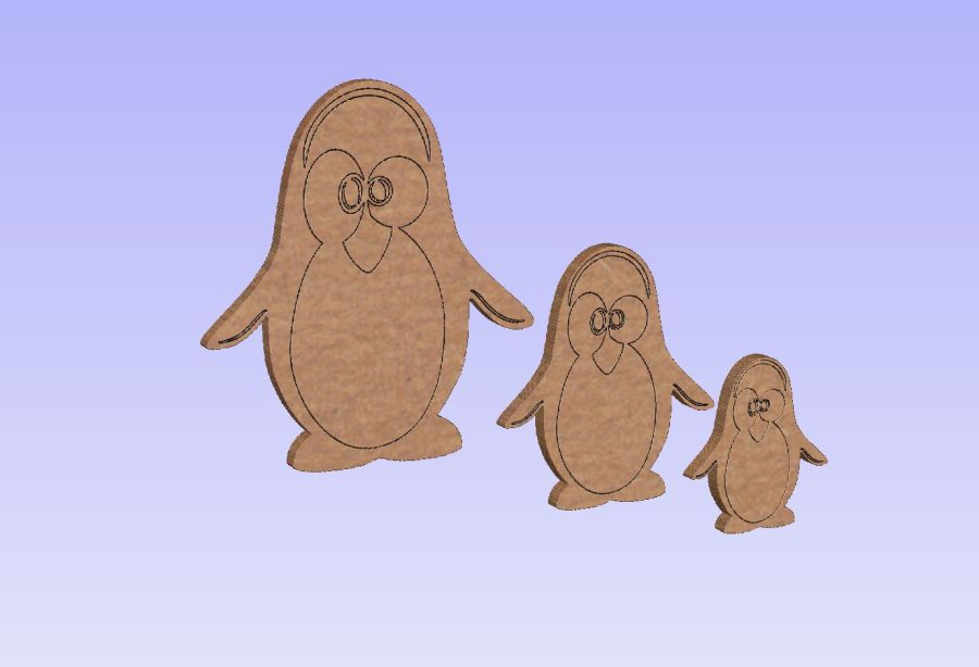 Freestanding Penguins With Detailing Set Of 3