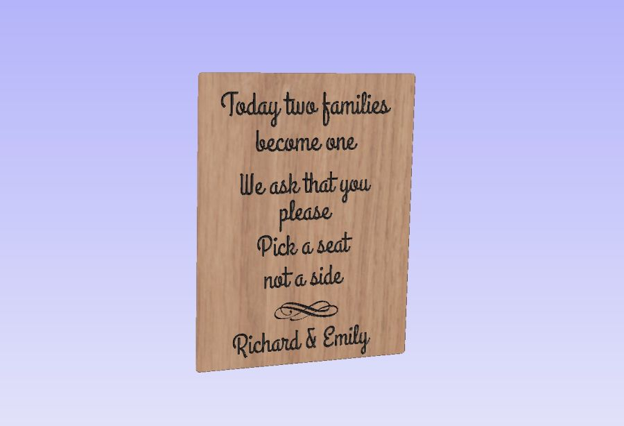Oak Veneer - Take a seat not a side - Sign