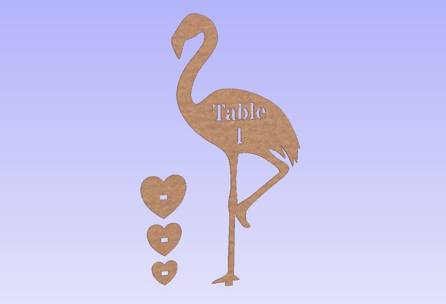 Freestanding Flamingo Table Numbers 3mm thickness