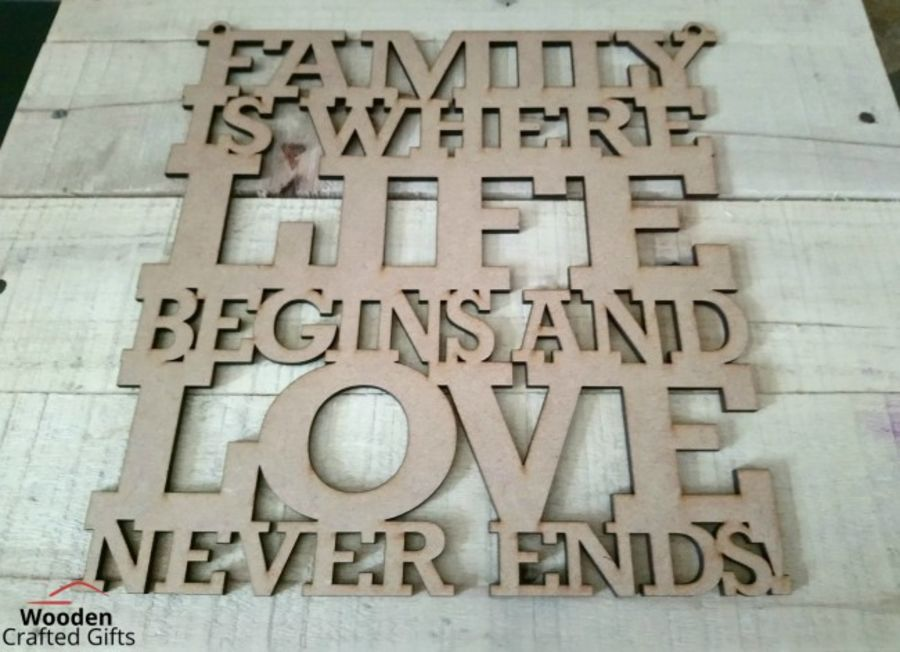 Hanging - Family is where Life begins and love never ends-  Plaque
