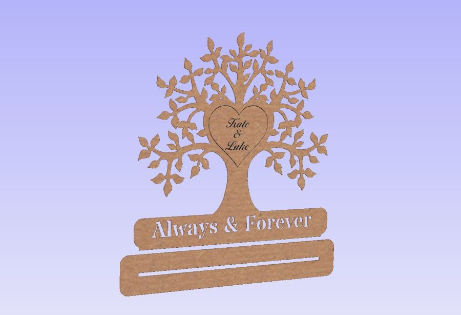 Freestanding  Tree - Always & Forever - Heart With Names -