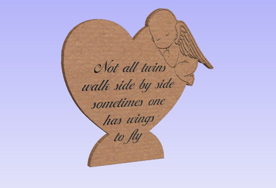 Freestanding Twin Baby Memory Heart