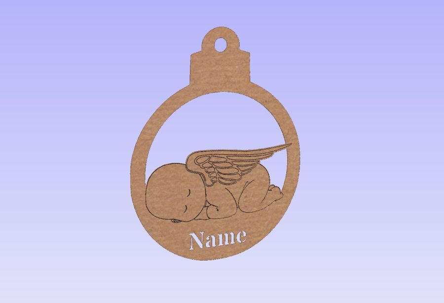 Hanging Angel Baby Memory Bauble