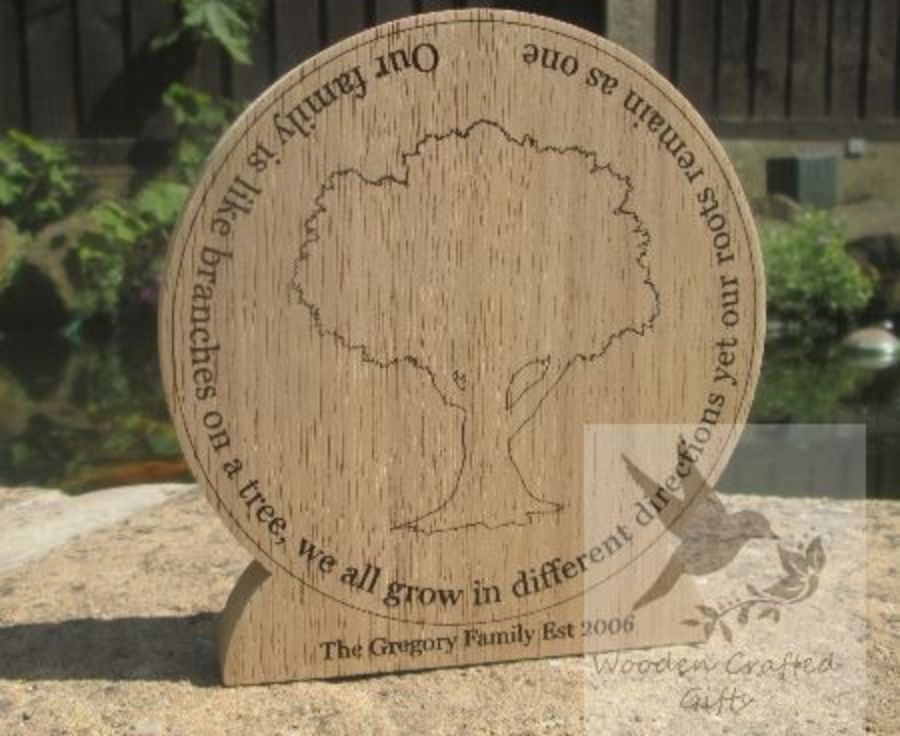 Freestanding Plaque - Our family is like branches on a tree, we all grow in different directions yet our roots remain as one