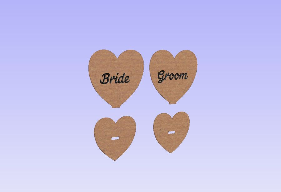 Freestanding Personalised  Heart Place Settings