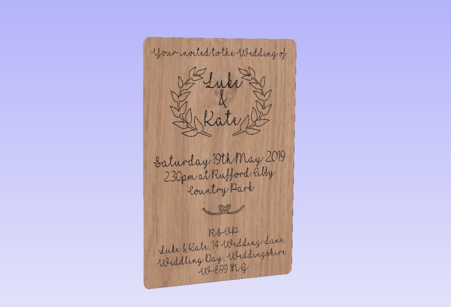 Rustic Oak Veneer Wedding Invites 10cm x 7cm