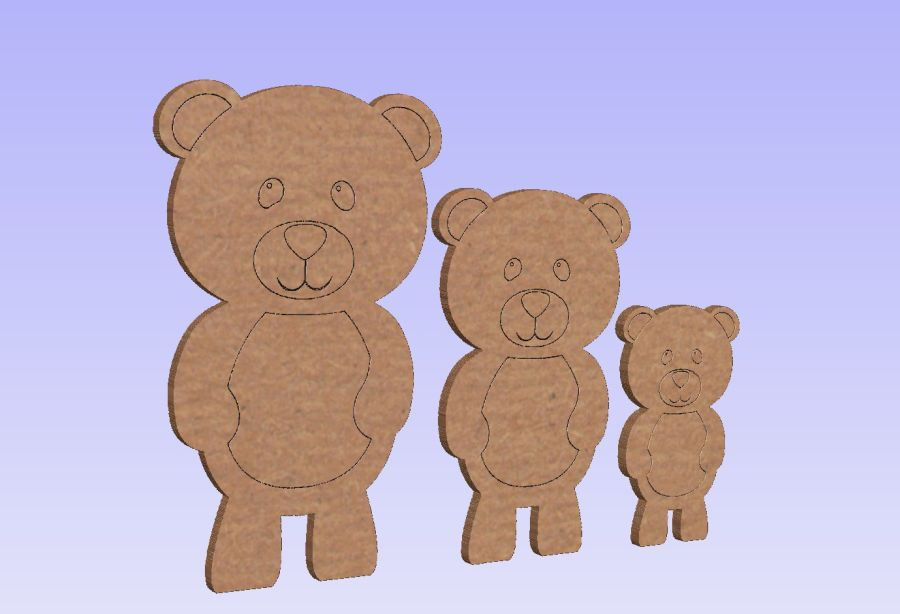 Freestanding Set of 3 Etched Detailing Teddy Bears