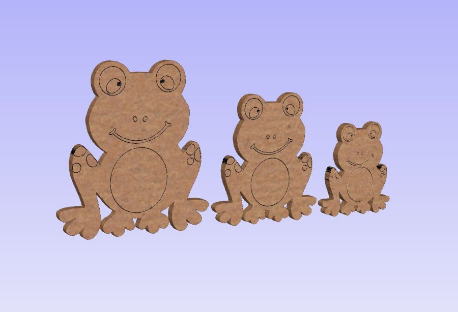 Freestanding Set of 3 Etched Detailing Frogs