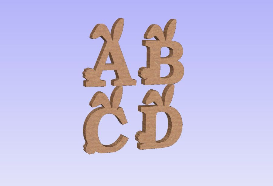 Freestanding Bunny Ears/Tail Letters