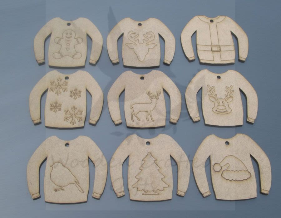Christmas Hanging Sweaters Set of 9