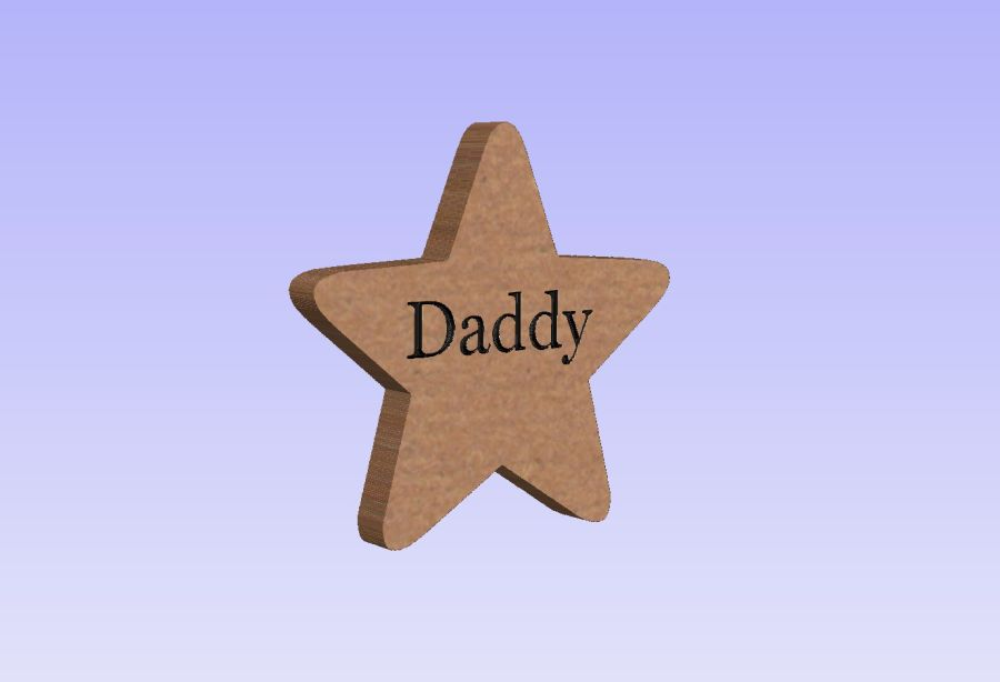 Freestanding Star Engraved  Daddy