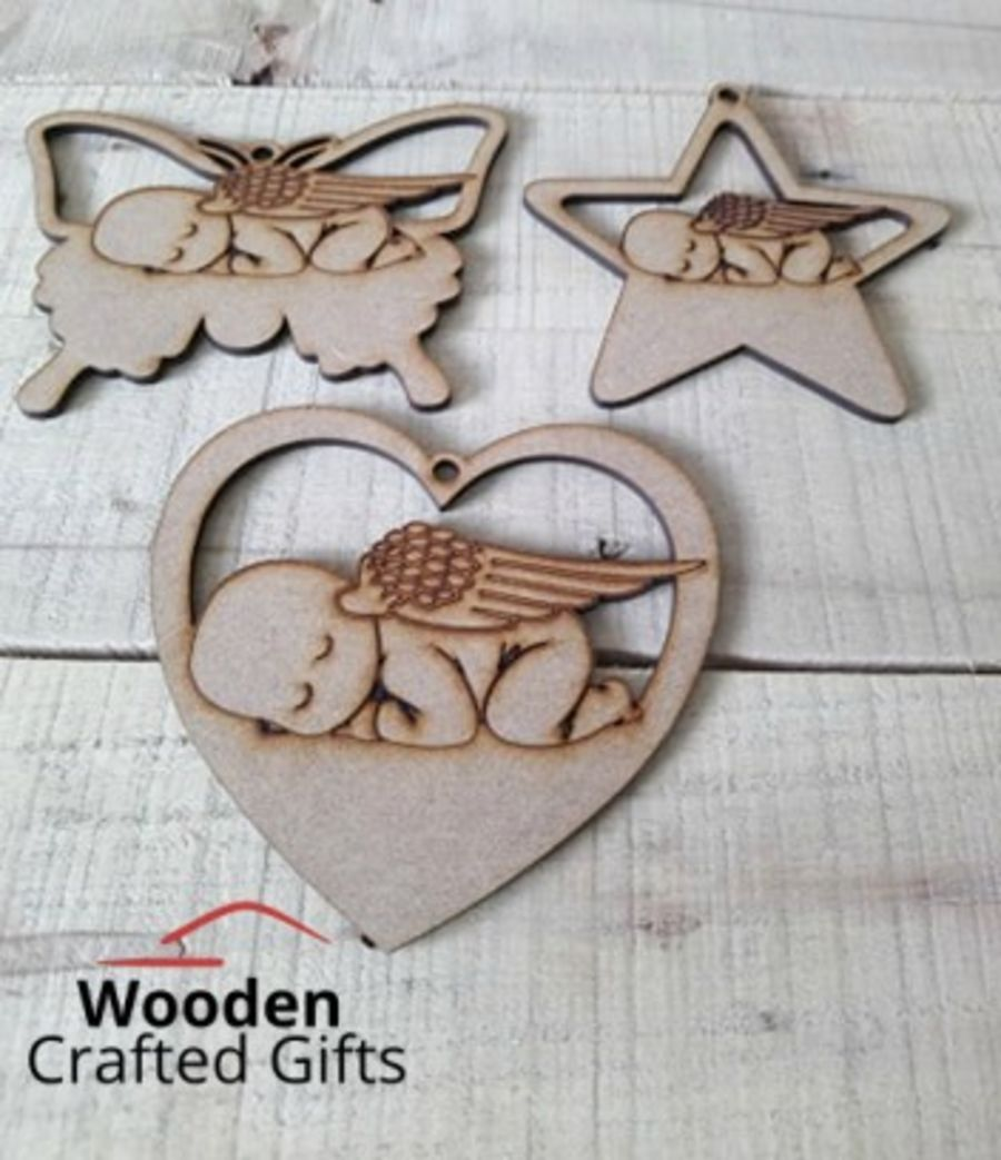 Hanging Heart & Star - Sleeping Baby Baubles - Pack of 10