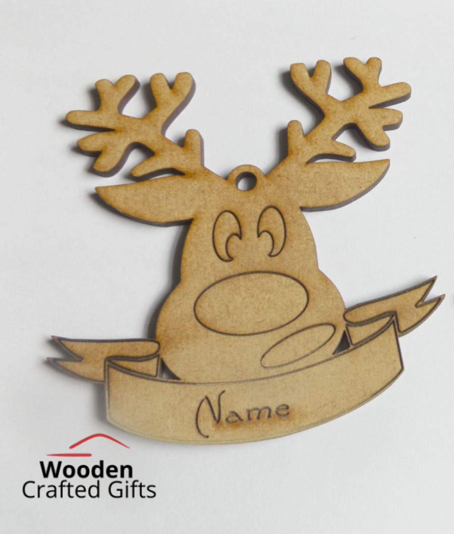 Engraved/Etched  Rudolph Banner Bauble