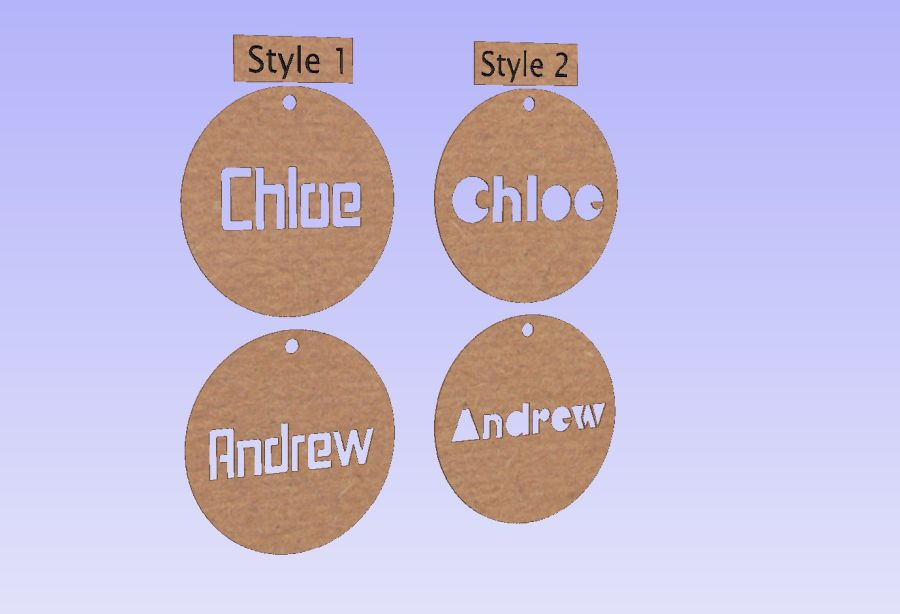 Bag Tags 3mm Thick Names Only