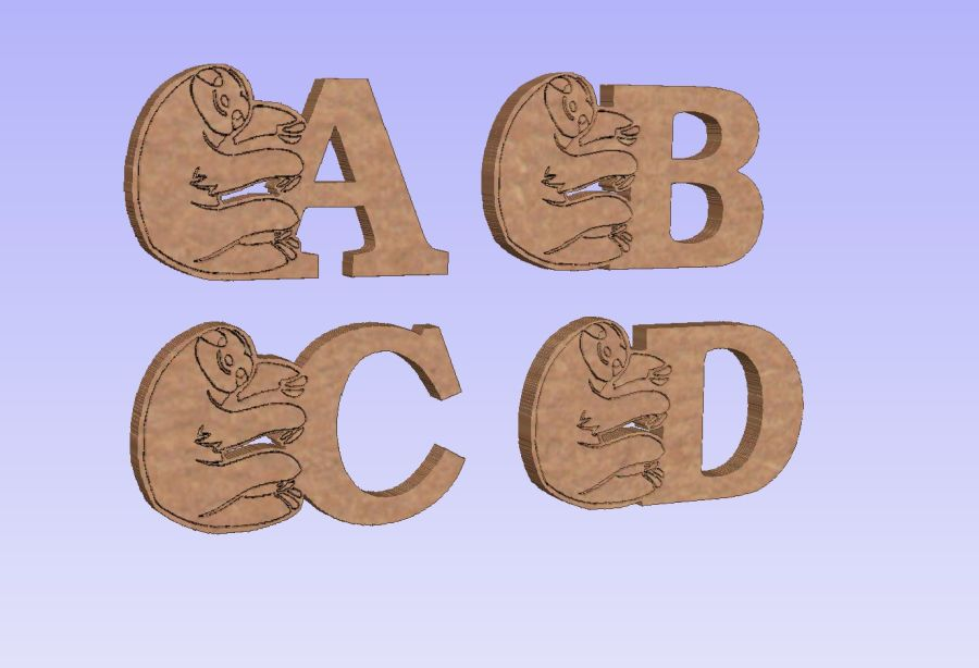 Freestanding Sloth Letters