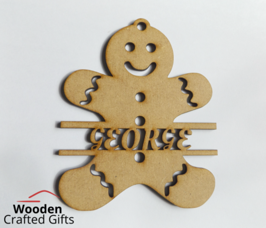 Personalised Gingerbread Baubles - Names through center