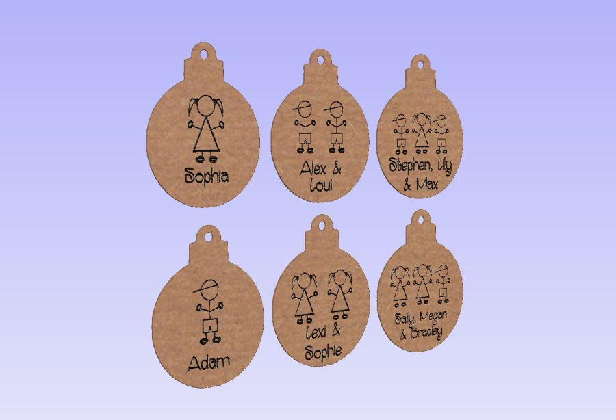 Hanging Stick People Baubles 4mm thick
